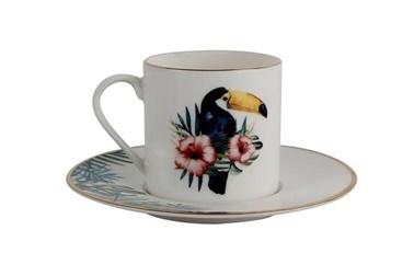 Porland Exotic Desen3 Tabaklı Kahve Fincanı 90Cc Renkli